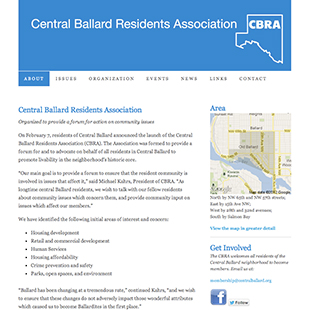 Central Ballard Residents Association website image